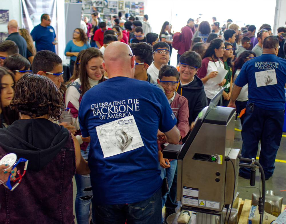 6e3d4786ea9c Ace pulled out all the stops for a huge MFGDAY 2016 Event. Sixteen buses  from area schools shuttled 650+ students and teachers to our Compton  facility.